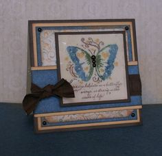 """card by Jennifer Bennett.. she created a """"watercolor"""" look on the butterfly and then used the """"cracked glass"""" distressed technique over it! It's NOT posted on her blog :( or I would have pinned it from there"""