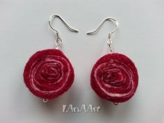 Life spirals FELT SILVER EARRINGS hand felted wool and crystal beads, merino wool in white and raspberry red and Swarovski type crystals by LanAArt on Etsy