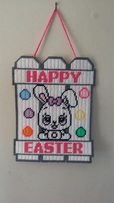 Easter Bunny Wall Hanging by CunninghamCrafts on Etsy Plastic Canvas Ornaments, Plastic Canvas Tissue Boxes, Plastic Canvas Crafts, Plastic Canvas Patterns, Canvas Door Hanger, Wall Hanger, Tissue Box Covers, Fauna, Easter Crafts