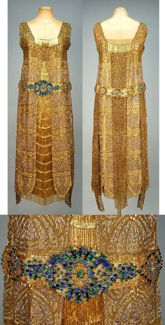 Bradley's Egyptian influenced beaded lame evening dress, London, Art Deco Fashion, Retro Fashion, Vintage Fashion, Fashion 1920s, Victorian Fashion, Fashion Fashion, Womens Fashion, 1920s Outfits, Vintage Outfits
