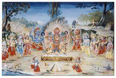 Painting of Kankeshwori Matrika Chamunda surrounded by rest of...