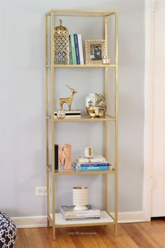 I want to do this to my IKEA bookcases. Spray paint an IKEA VITTSJO bookcase/shelving unit gold Decor Room, Diy Bedroom Decor, Living Room Decor, Bedroom Ideas, Dining Room, Dining Table, Ikea Furniture, Living Room Furniture, Glass Furniture