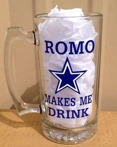 Dallas Cowboys Romo Makes Me Drink Beer Mug  by CrissCrossCraft, $11.95