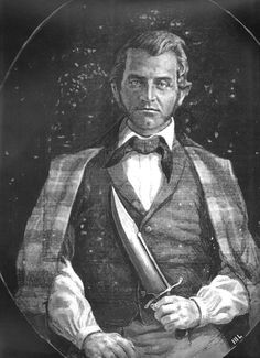 Jim Bowie, American pioneer and hero, and his signature knife. Born in Kentucky, Bowie lived in Louisiana and died at the Alamo.
