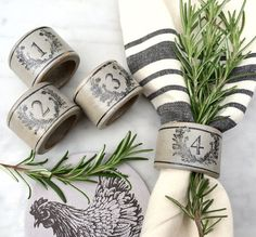French Country Farmhouse Napkin Rings Grey with Black Laurel Wreath and Numbers #farmhouse #frenchcountry