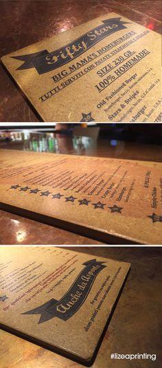 Stampa diretta su legno a colori. #woodprinting #design #menu #hamburger #oldamericanstyle