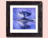 Lilac Landscape Print -  Purple night Moon painting - Purple Tree Painting, Fine Art Gorgeous Print , High quality Realistic Art  Wall decor