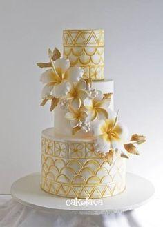 beautiful gold and white Samoan inspired wedding cake cake decorating ideas Beautiful Wedding Cakes, Gorgeous Cakes, Pretty Cakes, Amazing Cakes, Unique Cakes, Elegant Cakes, Custom Birthday Cakes, Wedding Cake Inspiration, Wedding Cake Designs