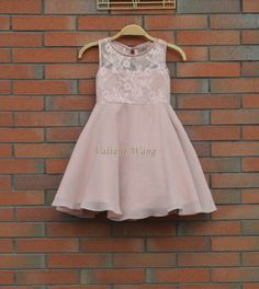 Rose/Blush Pink Lace Chiffon Flower Girl Dress At Knee Length With Sash