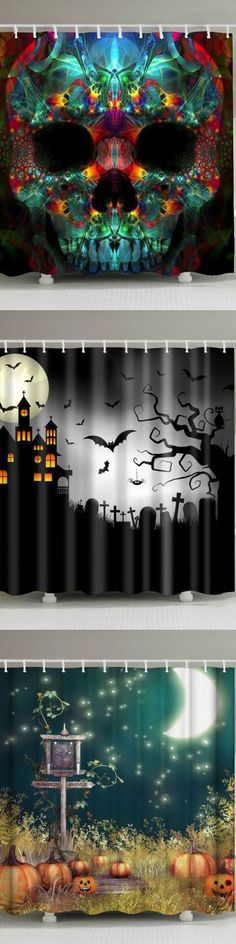 Halloween bathroom decorations ideas with waterproof Shower curtains that are diy cute simple & scary! Our Awesome products are funny home decor inspirations which can create a haunted mansion or house. Our curtain inspiration is ideal for any type of bathrooms which comes with a skull, skeleton, pumpkin, ghost, cats, dogs, vampire etc. These Victorian Gothic style shades are unique but cheap, inexpensive and on a budget product idea