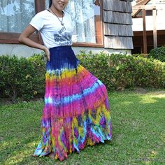 Colorful Tie Dye Maxi Long Skirt Tiered Ruffle by BenThaiProducts, $29.00