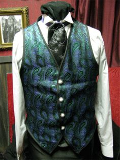 steampunk vest mens XL blue and green brocade