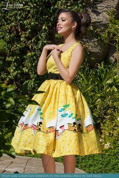 Aurora Dress in Mary Blair Train Border Print