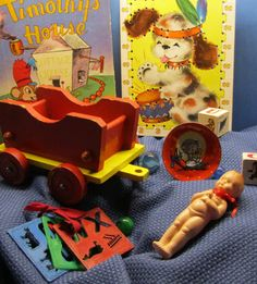 Vintage 40s 50s Toys Wooden Wagon Circus by WillowValleyVintage