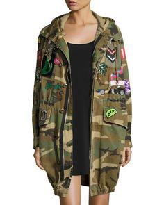 Marc Jacobs Patch Embellished Camo Anorak Coat Jacket   Fall Fashion   Camo Jacket  