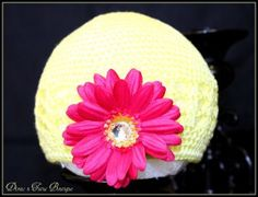 Infant Crochet Beanies /Kufi Hats Yellow with Hot Pink Flower