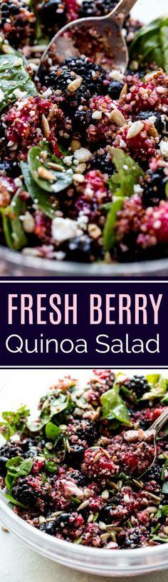 Fresh berries, gorgonzola cheese, spinach, basil, and a simple honey lemon dressing makes this healthy quinoa salad summer recipe hit the spot! Recipe on sallysbakingaddiction.com