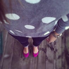Polka dots with bright shoes