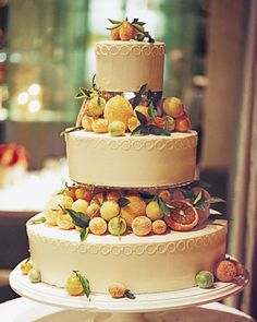 A great cake for a winter wedding: tiers decorated with sugared citrus fruits.