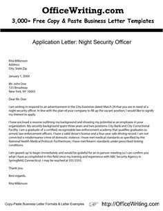 Application Letter Night Security Officer    We Have Over 3,000 Free Sample  Letters, Letter