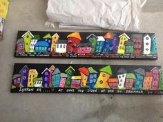 Malerier Dyi Painting, House Painting, Painted Mailboxes, Sharpie Crafts, House On The Rock, Driftwood Crafts, Building Art, Acrylic Canvas, Diy Arts And Crafts