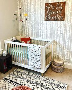 A Diy Stenciled Nursery Accent Wall Using The Birch Forest Allover Stencil From Cuttin Gedge Stencils