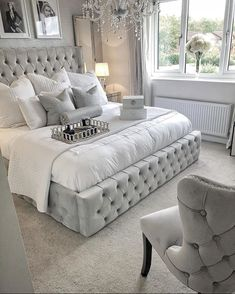 upholstered beds decor - upholstered beds - upholstered beds master bedroom ideas - upholstered beds master bedroom - upholstered beds decor - upholstered beds diy - upholstered beds with storage - upholstered beds grey - upholstered beds farmhouse Grey Bedroom Design, Grey Bedroom Decor, Bedding Master Bedroom, Stylish Bedroom, Room Ideas Bedroom, Home Bedroom, Silver And Grey Bedroom, Grey Bed Room Ideas, Glam Bedding