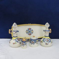 Noritake Deco Condiment Set/ Oil and Vinegar Cruets/ Noritake Mustard Jar/ Pink Red Blue Flowers/ Porcelain China/ Noritake Tray by TwoCousinsCollection on Etsy