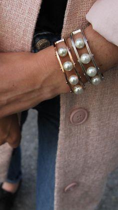 pink coat /// pearl cuff