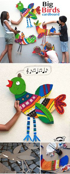 DIY Big Cardboard Birds - Great decor for the bird theme classroom or homeschool room! I would put one in each area - reading, writing, math, etc. Art For Kids, Crafts For Kids, Arts And Crafts, Cardboard Art, Cardboard Animals, Bird Crafts, Paper Crafts, Collaborative Art, Spring Art