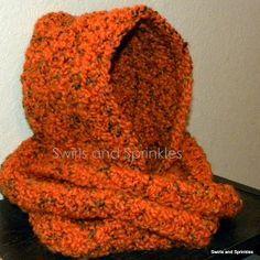 Swirls and Sprinkles: Crochet Hooded Infinity Scarf.  Free pattern. Hooded Infinity Scarf.  One size fits most. What you will need: N hook Bulky weight yarn (5) I used 2 skeins of yarnbee fleece light. Scissors Yarn needle