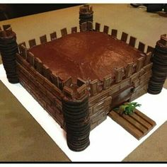 Chocolate fort cake...can also use KitKats for walls