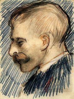 Head of a Man (Possibly Theo van Gogh), 1887, Vincent van Gogh  Medium: charcoal, chalk on paper