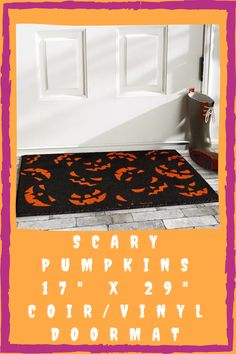 Greet your visitors in a spooky way. This scary pumpkins doormat is made from mold and mildew resistant material called coir. This durable doormat is perfect for a front door mat. It's also for keeping shoes clean. This mat is 65% off until September 30. Purchase this from Macy's. Keep Shoes, Clean Shoes, Spooky Halloween Decorations, Front Door Mats, Scary Pumpkin, Coir, Mold And Mildew, Doormat, Pumpkins