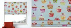 Add some fun to your kitchen with these cute cupcake roman blinds.