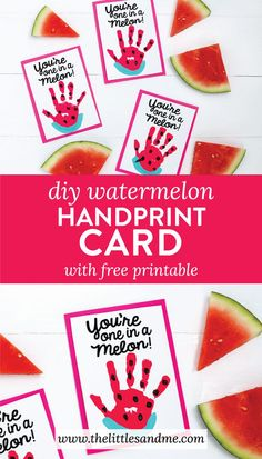 You're One in a Melon DIY Watermelon Handprint Card Tutorial with FREE printable by The Littles & Me