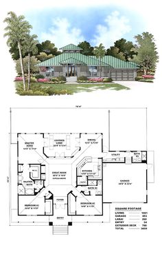 Florida Cracker Style COOL House Plan ID: chp-17425 | Total living area: 1991 sq ft, 3 bedrooms & 3 bathrooms. #floridacracker #houseplan
