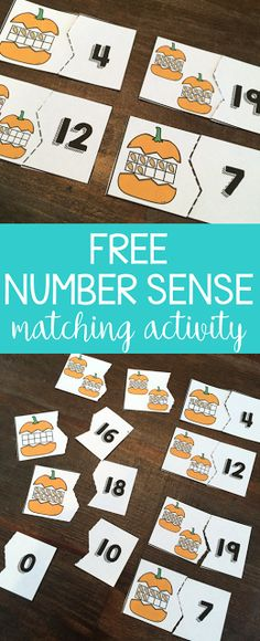 This free pumpkin math center will have your students practicing number sense and having fun during the fall seasons! Fall Preschool, Preschool Math, Math Classroom, Teaching Math, Math Math, Math Fractions, Creative Teaching, Teaching Tips, Number Sense Activities