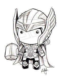 Chibi Thor art for amigurumi inspiration