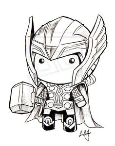 Chibi Thor art for amigurumi inspiration