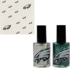 Philadelphia Eagles Nail Polish & Decal Set $14.99 http://store.philadelphiaeagles.com/Philadelphia-Eagles-Nail-Polish-Decal-Set-_457192125_PD.html?social=pinterest_pfid37-02743