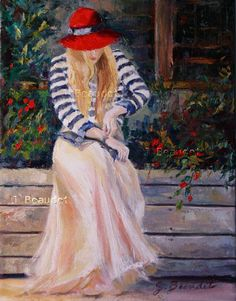 Original Oil Painting woman figure Red hat by JBeaudetStudios, $250.00