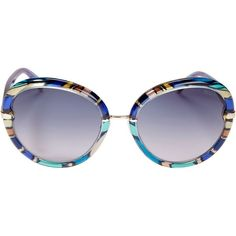Emilio Pucci Women's Pattern Frame Sunglasses (4.265 ARS) ❤ liked on Polyvore featuring accessories, eyewear, sunglasses, blue, emilio pucci eyewear, print sunglasses, blue sunglasses, emilio pucci sunglasses and round frame glasses