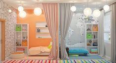 Интерьер детской комнаты для разнополых детей: дизайн зон мальчика и девочки