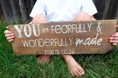 Distressed Wood Sign 'fearfully made' by MyChapter41 on Etsy
