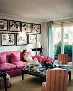 Lee Radziwill Apartment. I like all the books on the coffee table and the doors to the manicured patio