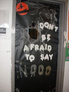 As we do drug awareness week during the Halloween season I have combined the 2 to try to win our door decorating contest. The kids traced a. Halloween Door Decs, Halloween Classroom Door, Halloween Door Decorations, Halloween Themes, Halloween Poster, Drug Free Door Decorations, Drug Free Posters, Fall Crafts, Diy Crafts