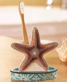 Starfish bathroom accessories coastal toothbrush holder sea shell rustic decor beach ocean decorating id . Ocean Bathroom, Nautical Bathroom Decor, Bathroom Decor Sets, Seaside Decor, Bathroom Accessories, Bath Decor, Barbados, Tropical