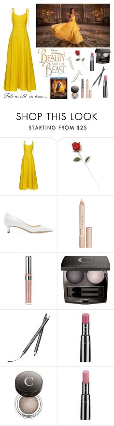 """""""A Modern Belle"""" by wednesday-williams ❤ liked on Polyvore featuring Disney, Rosie Assoulin, Jimmy Choo, Chantecaille, modern, BeautyandtheBeast and contestentry"""