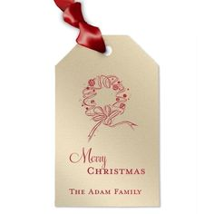 Christmas Wreath Personalized Holiday Gift Tag